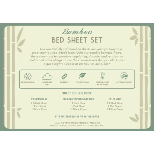 Bamboo Bed Sheets Set Back Insert