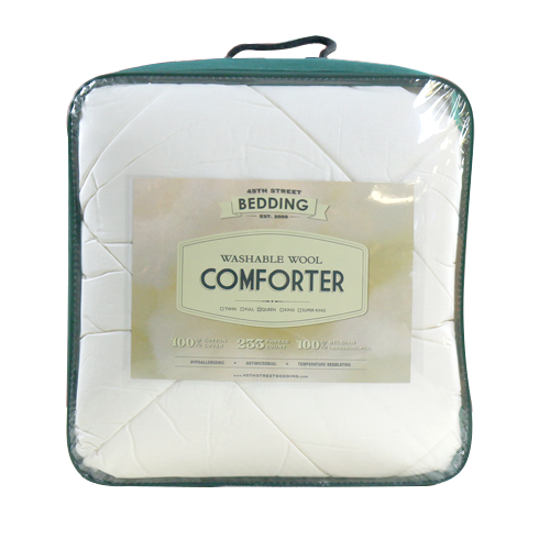 washable wool comforter in packaging