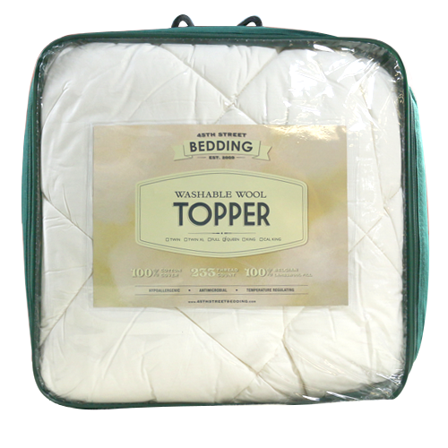 washable wool topper in packaging